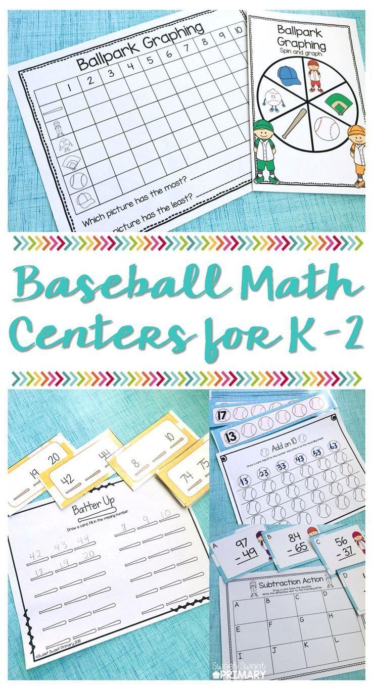 March Math Centers: Baseball Spring Training   Kindergarten, Math ...