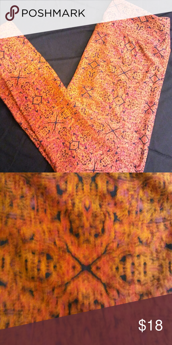 OS Lularoe leggings Pretty orange and black print worn once LuLaRoe Pants Leggings
