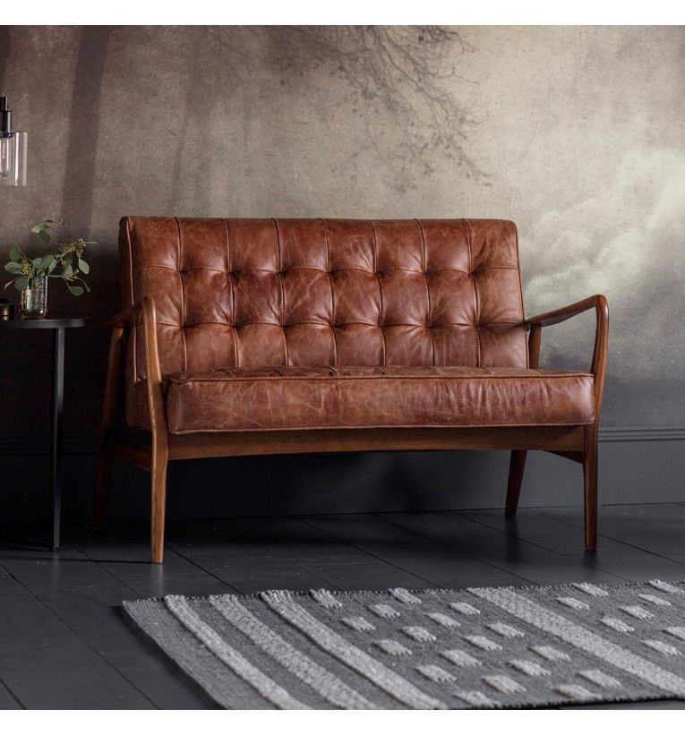 Humber 2 Seater Sofa Vintage Brown Leather In 2020 Vintage Sofa Leather Loveseat Brown Leather Sofa