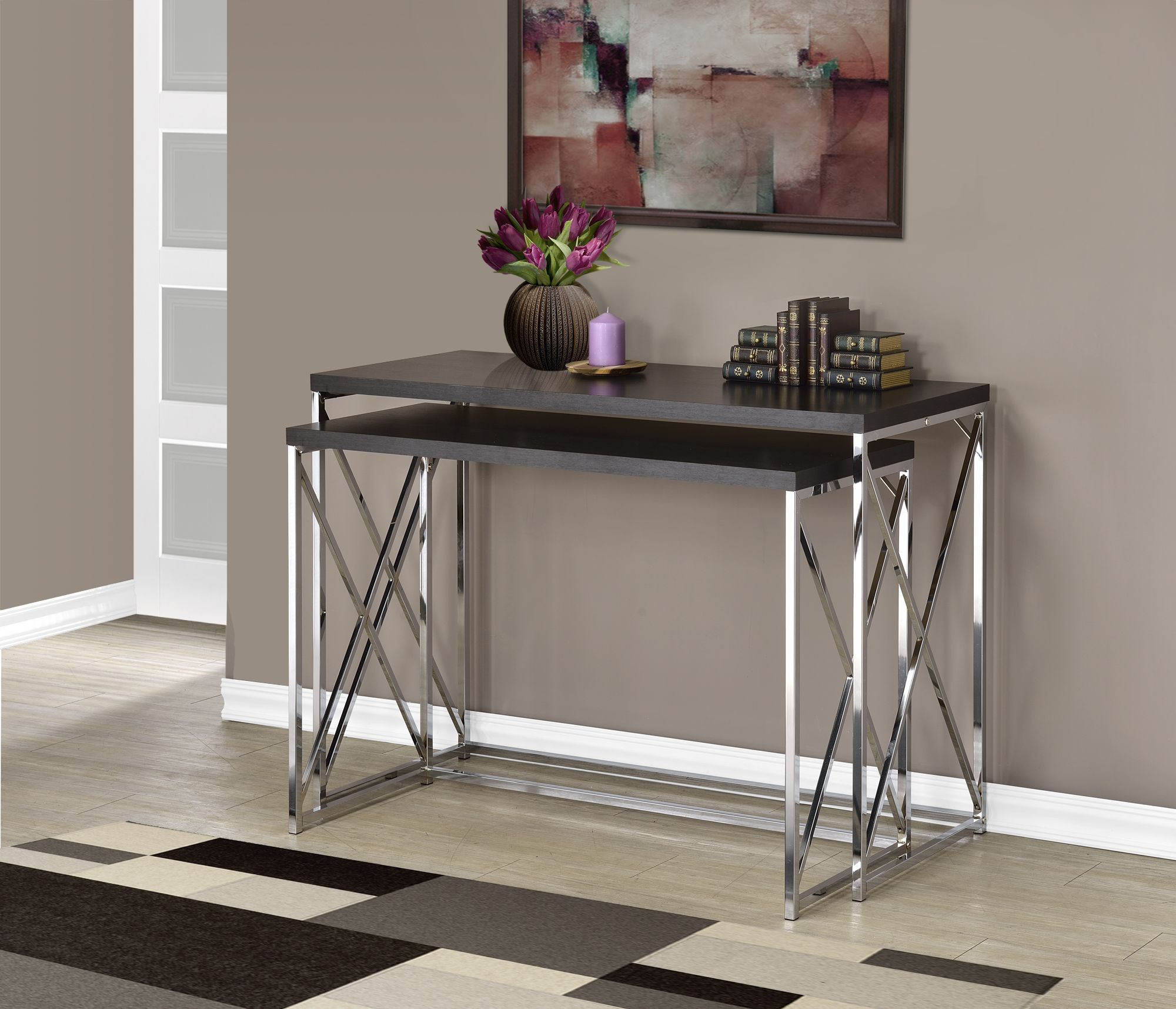 Monarch Specialties Console Table   2PCS / Cappuccino With Chrome Metal,  Brown