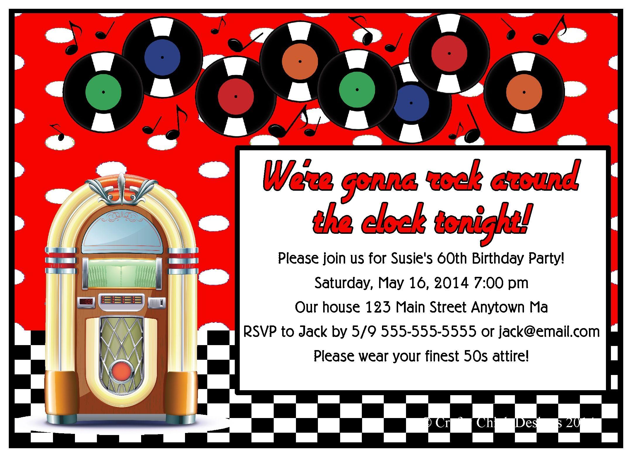 1950s Juke Box Sock Hop Birthday Party Invitations | 1950s, Grease ...