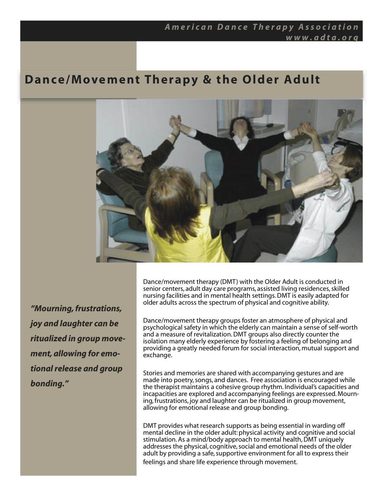 Dance/Movement Therapy with the Elderly www.adta.org #DanceTherapy  #DanceMovementTherapy #Elderly