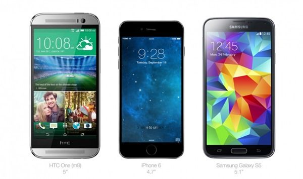 4 7 Inch Iphone 6 Compared In Size To Galaxy S5 Htc One M8 More Images Iphone Iphone 6 Phone