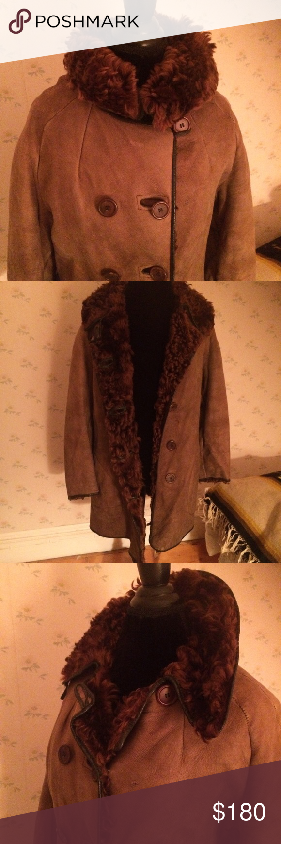 """Vintage Lamb Skin Sheep Skin Women's Coat Vintage Lamb Skin Sheep Skin Women's Coat, curly hair inside. Super warm, 100 % fur. Double breasted. Super stylish. Has vintage wear, small 1/4"""" mended tear on back shoulder seam, no stains. Smoke and pet free home. Jackets & Coats"""