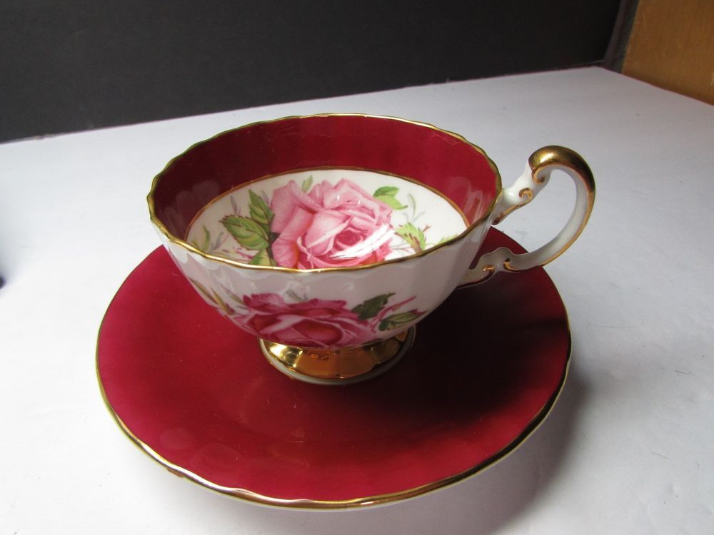 Vintage Aynsley England Bone China Cup And Saucer Red Roses