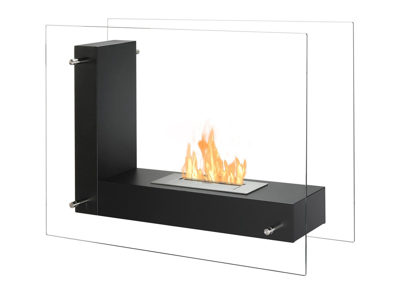 Ignis Vitrum L Black 32 Free Standing Ethanol Fireplace In Outdoor Fsf 005 Ethanol Fireplace Bioethanol Fireplace Freestanding Fireplace