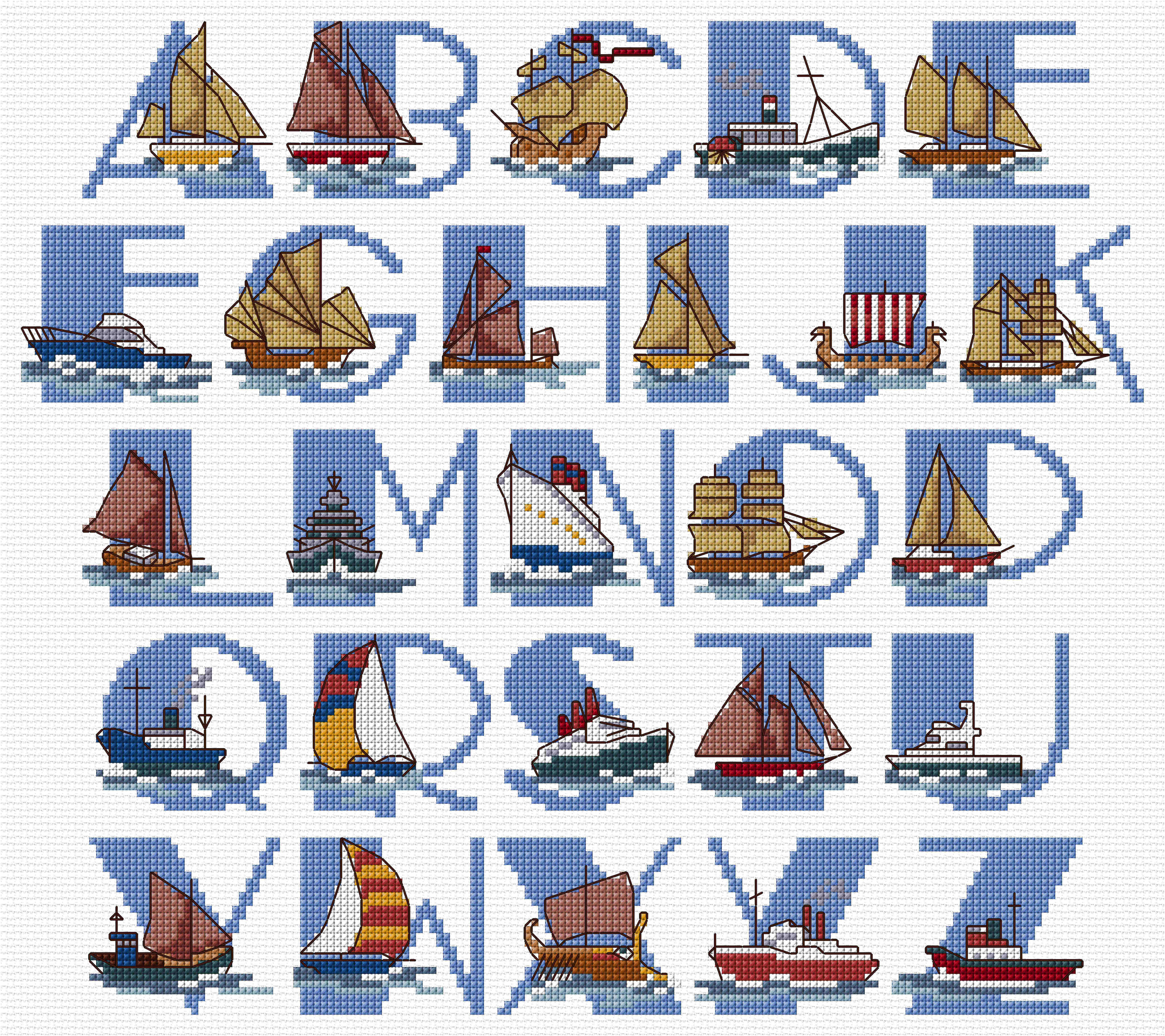 Cross stitch chart for Ships alphabet, designed by Claire Crompton