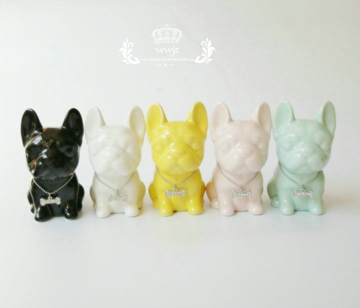 Heart My Frenchie Ceramic Porcelain Figurines 5 Colors
