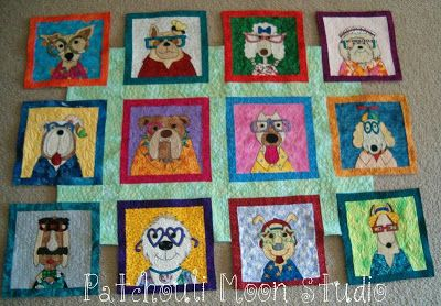 My Dazzling Dogs quilt; applique dogs designed by Amy Bradley
