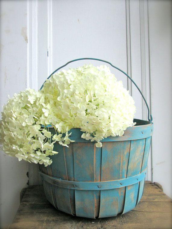 Turquoise Orchard basket vintage gathering basket Wood Slat Country Cottage Shabby Vintage Wedding Decor