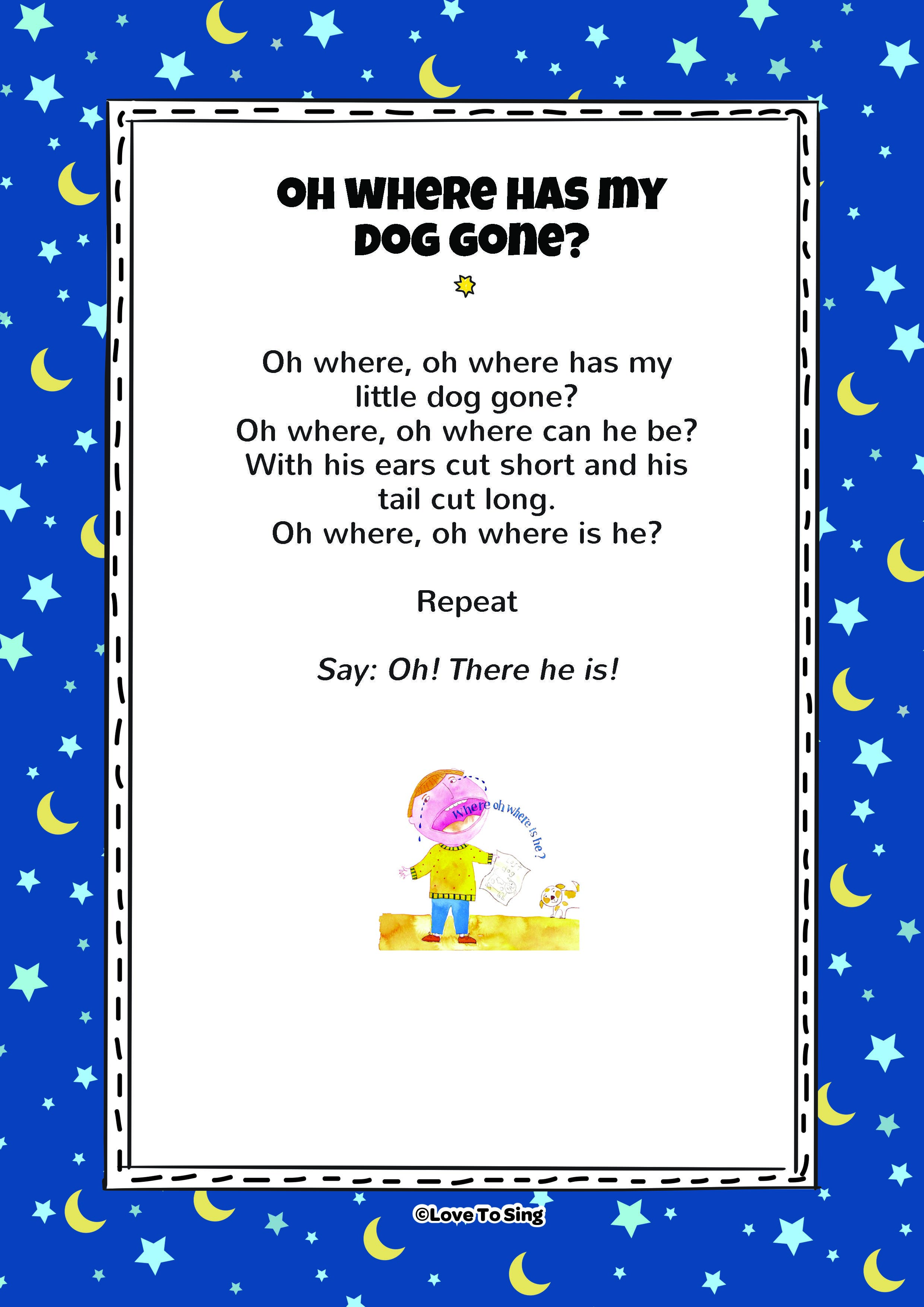 Oh Where Has My Little Dog Gone Free Kids Videos Activities