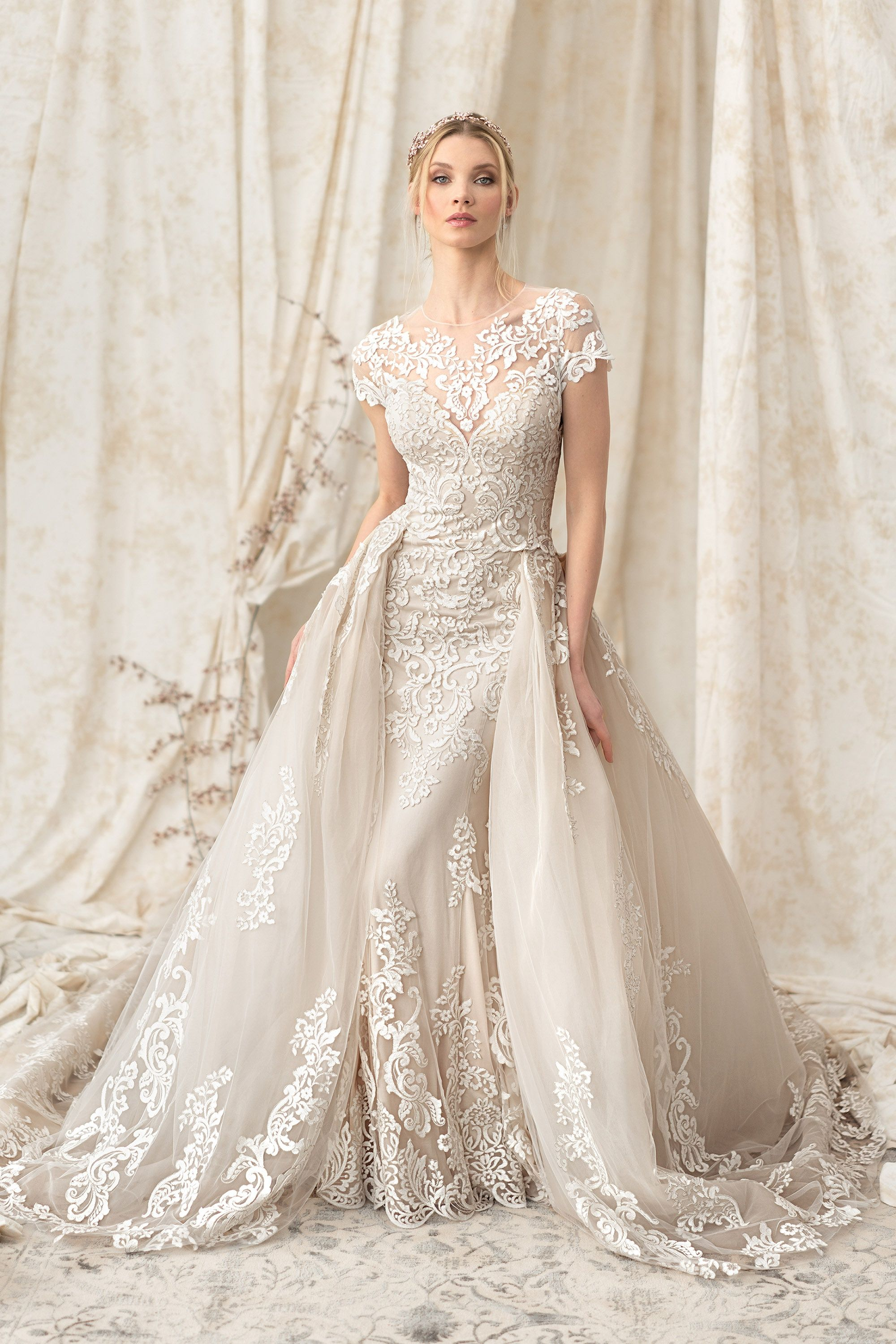 ... Signature- Fit and Flare Gown with Voluminous Detachable Train The  Persnickety Bride will have Justin Alexander Dresses in stock in December  2017!!! 2177f7486b5e