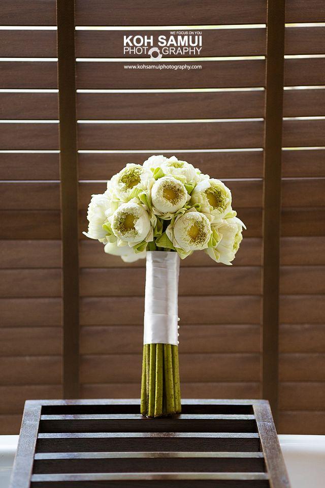 Bridal Bouquet White Lotus Thailand Wedding Flower Decorations