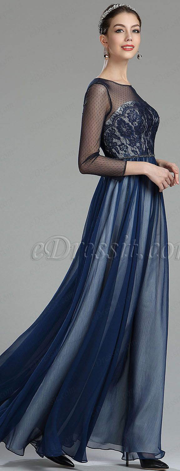 Navy blue lace evening dress with sleeves edressit dresses