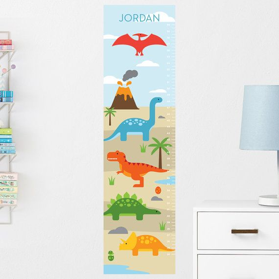 Dinosaurs Growth Chart Decal, Wall Height Chart Decal, Height - boys growth chart
