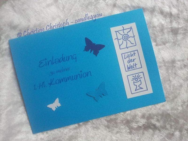Einladungskarte Kommunion Motto Licht EK-KML-PA von candle4you auf DaWanda.com