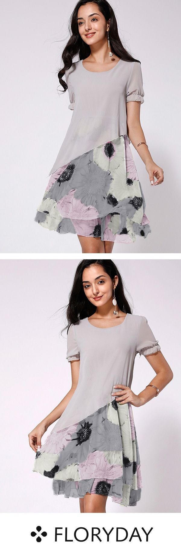Knielanges Kleid mit kurzen Ärmel und Blumenmuster #frenchgirlstyle