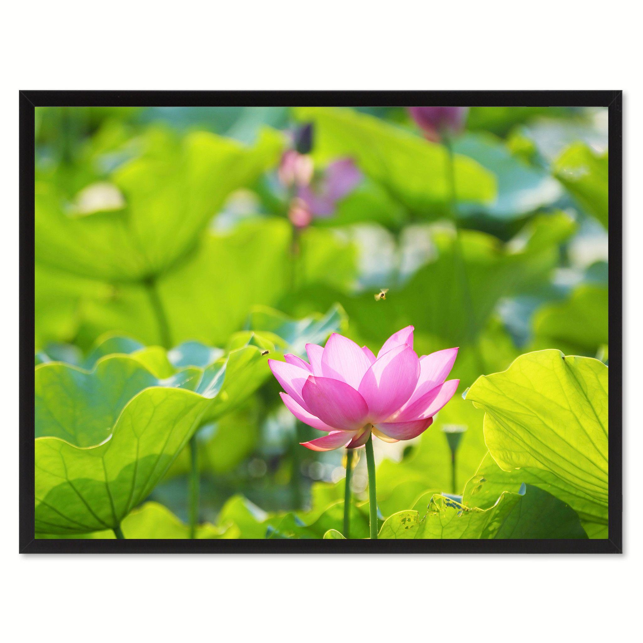 Pink Lotus Flower Framed Canvas Print Home Dcor Wall Art Framed