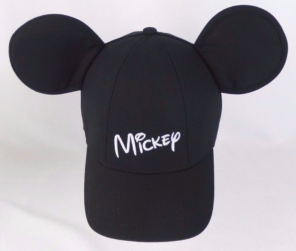 9dd53373a78 Disney Kid s Youth OSFM Black Embroidered Mickey Mouse Ears Baseball Hat   Disney