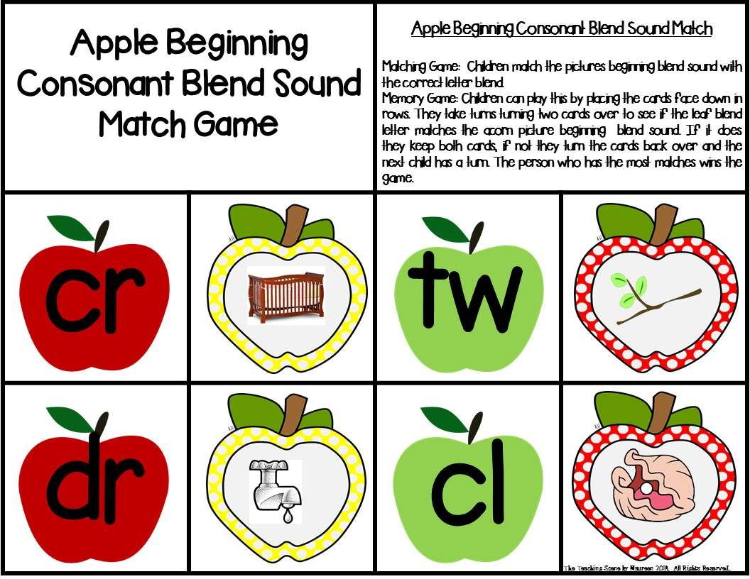 Beginning Consonant Blends Center Games With Worksheets