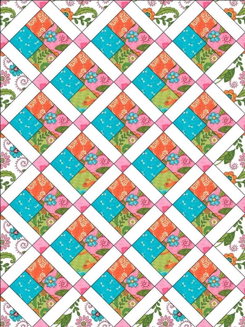 Dragon Fly Hop Baby Quilt Pattern cjw-022 Carlene Westberg Designs