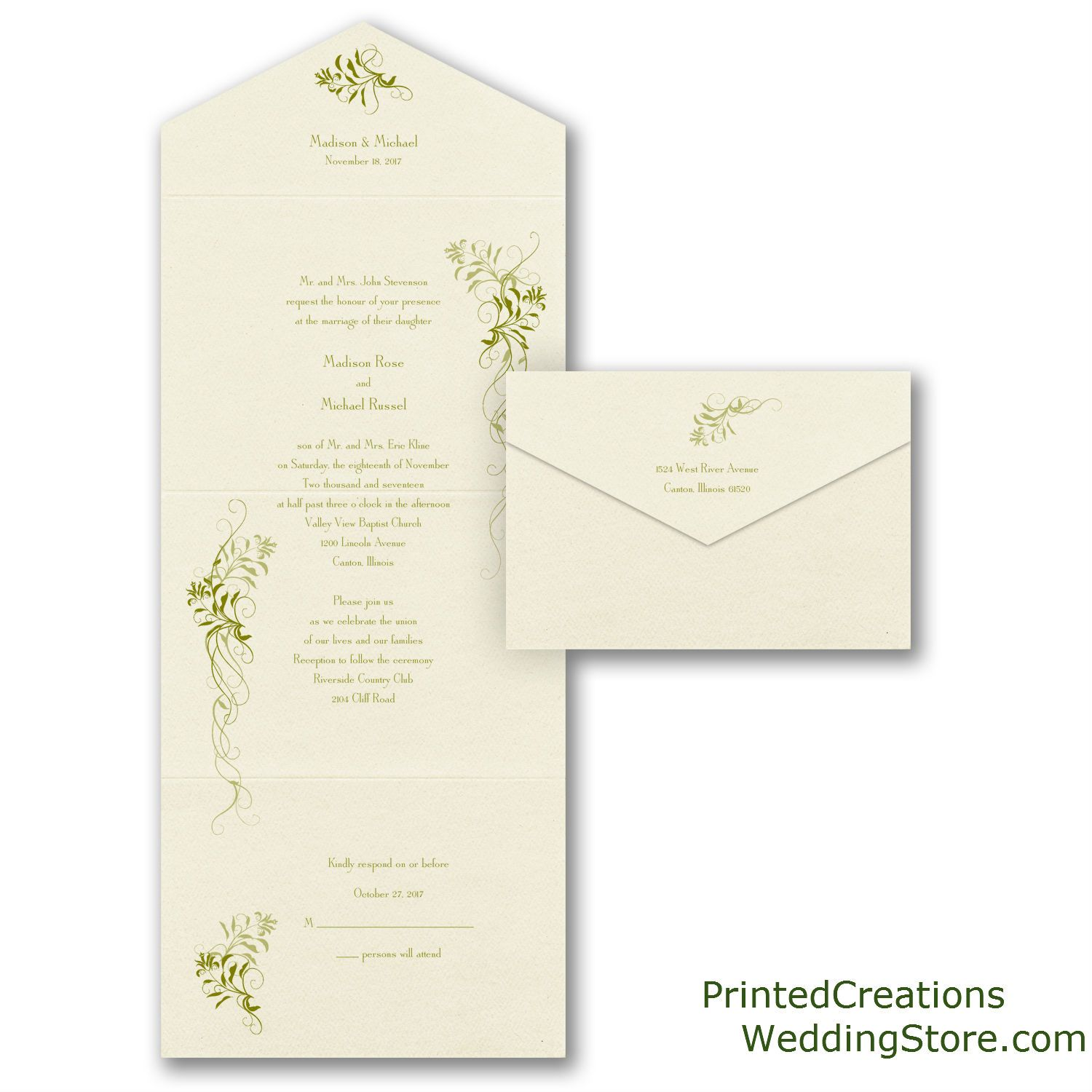 ideas for country wedding invitations%0A Larkspur Seal  u    n Send Wedding Invitation  Beautiful trailing green vines  accent this unique and