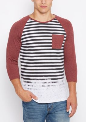 Everyday style is a no-sweat occasion with chill basics like this. This marled knit baseball tee sports burgundy raglan sleeves and stripes down the front, fading once they reach the bottom.