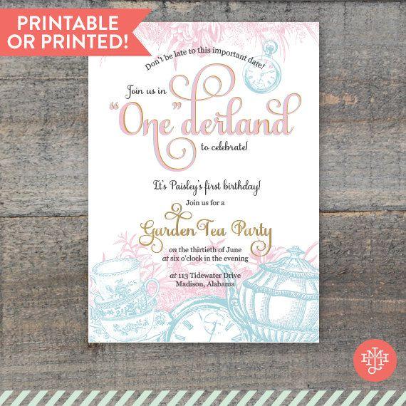 wonderland 1st birthday invitations