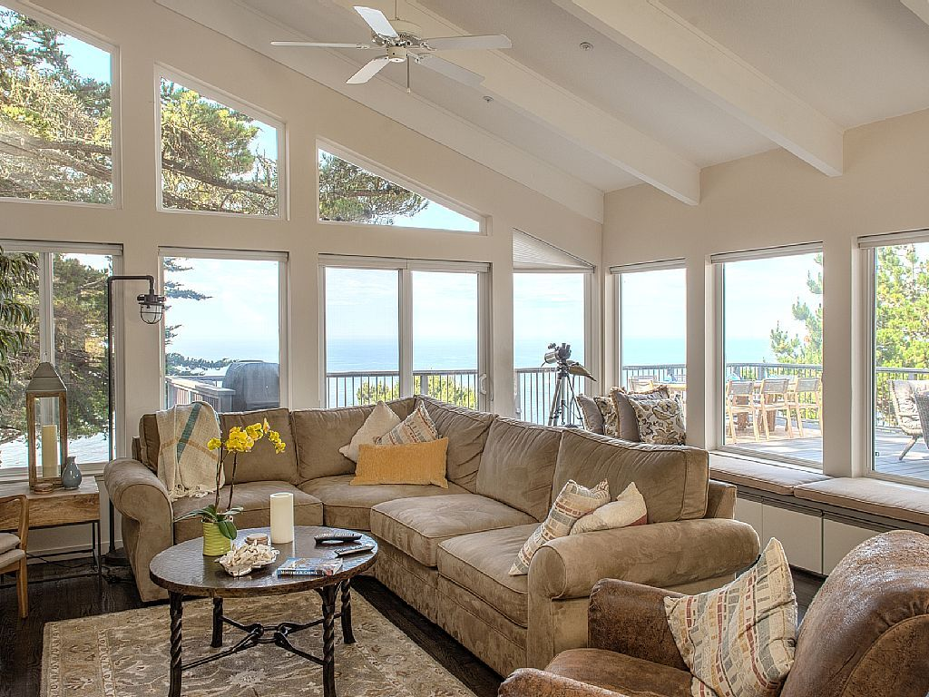 Great Room is light-filled and has a panoramic ocean view