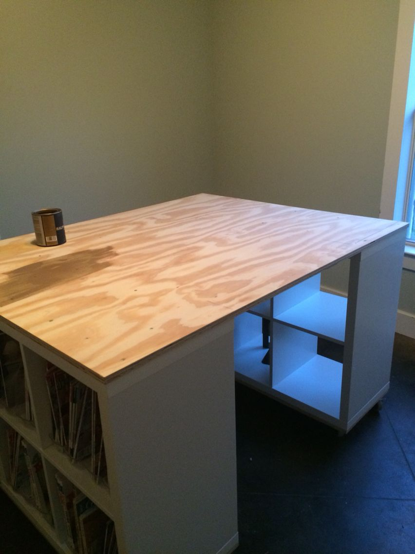 sewing craft table made with plywood castors ikea shelving rh pinterest com