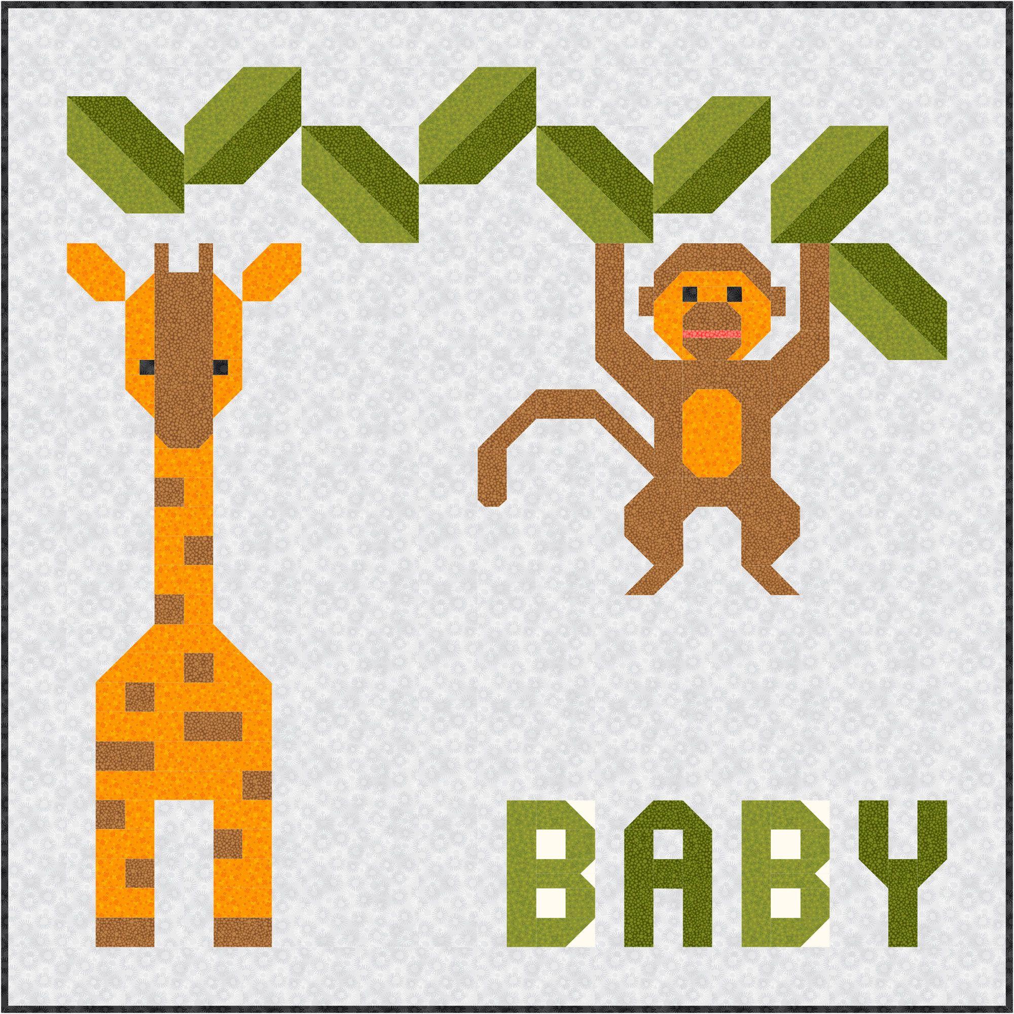 Jungle Baby Quilt Pattern, PDF, Instant Download, modern