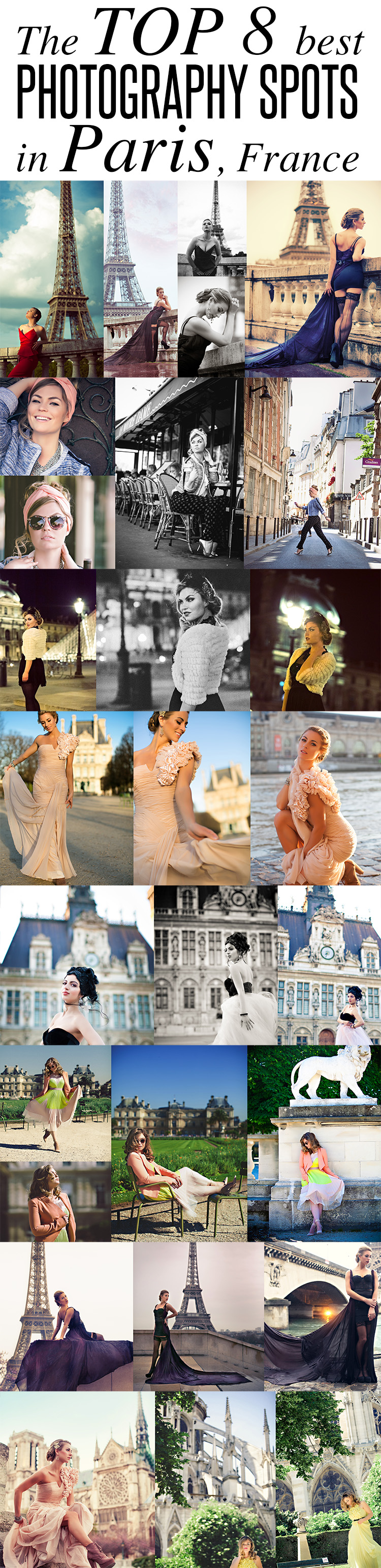 The top 8 BEST locations for photography & photo shoots in PARIS, France! http://www.thedivasblog.com/best-photo-locations-paris/