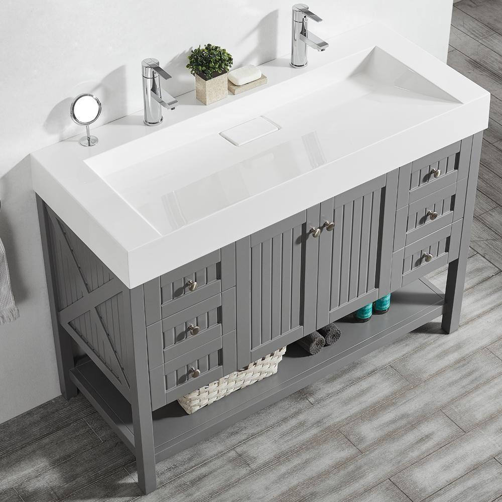 vinnova pavia 48 in w x 20 in d vanity in grey with acrylic vanity rh pinterest com