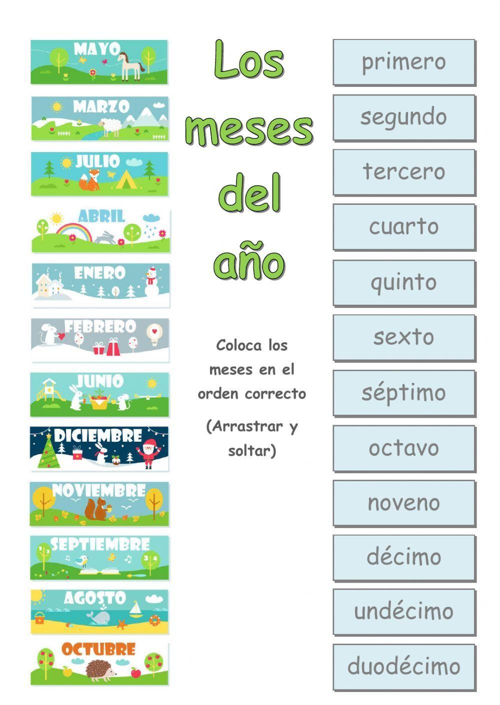 Los meses del año - Interactive worksheet | MESURA DEL TEMPS | Pinterest