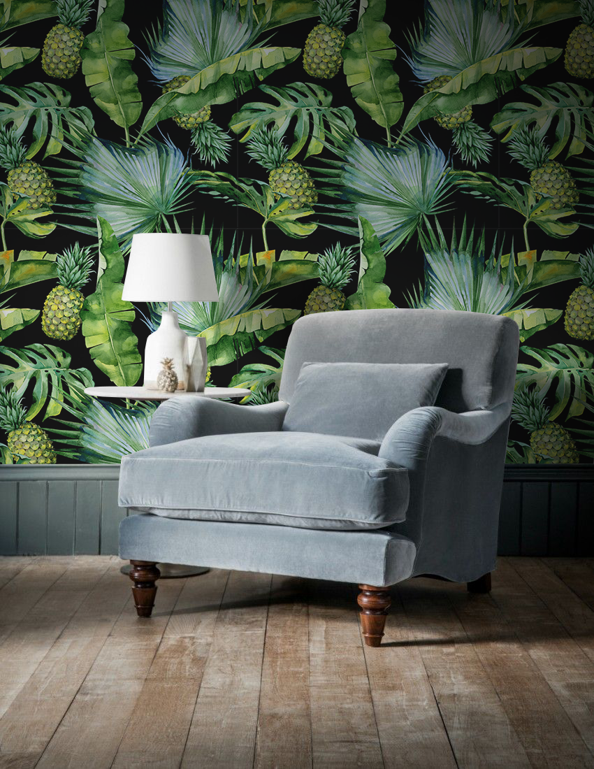 dark wallpaper design pineapple jungle removable wall mural rh pinterest com