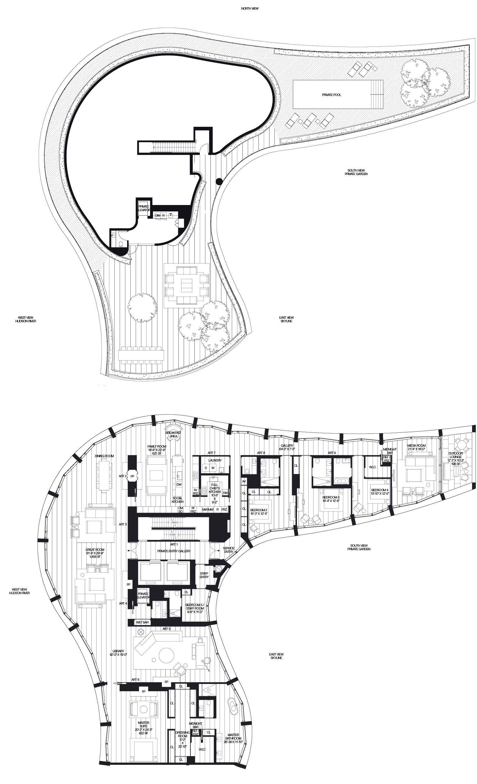 160 leroy new york penthouse north 5 bed 5 bath interior 7 750 sqft rh pinterest com