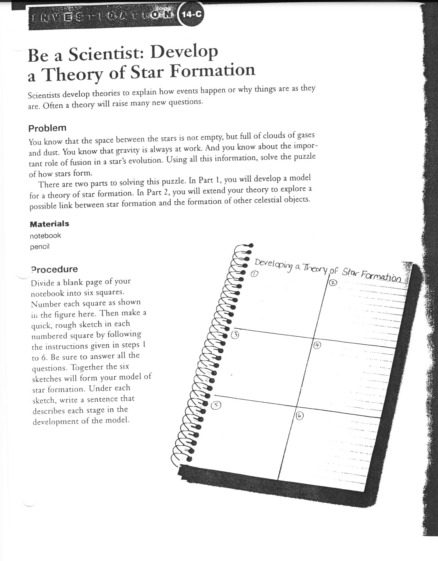 Be A Scientist Develop A Theory Of Star Formation