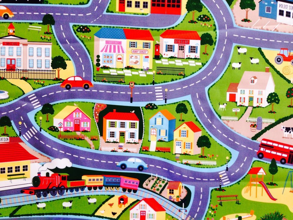 Pau Map%0A CUTE ROAD MAP PVC OILCLOTH TABLECLOTH PLAYMAT PANNEL  WIPECLEAN AND  REUSEABLE