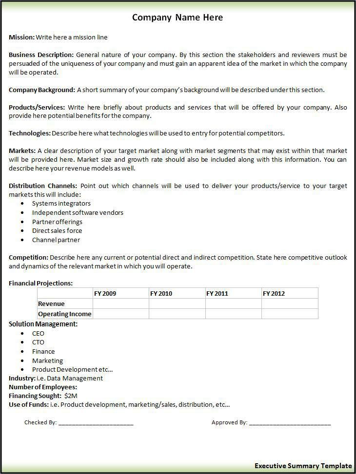Executive Summary Request Form  Printableform