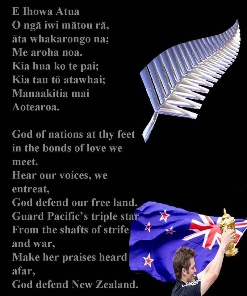 New Zealand anthem words Mistake yesterday,called it the