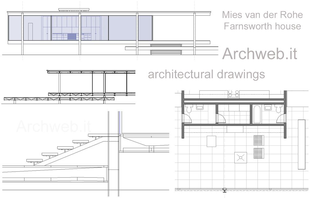 2d farnsworth house mies van der rohe archweb for Plan de arquitectura