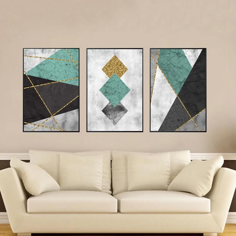 Abstract Black Grey Green And Gold Geometric Wall Art Modern Nordic Canvas Prints Paintings For Living R Geometric Wall Art Canvas Wall Art Canvas Painting Diy