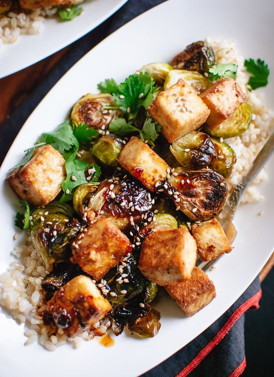 Roasted Brussels Sprouts and Crispy Baked Tofu with Honey-Sesame Glaze #favoriterecipes