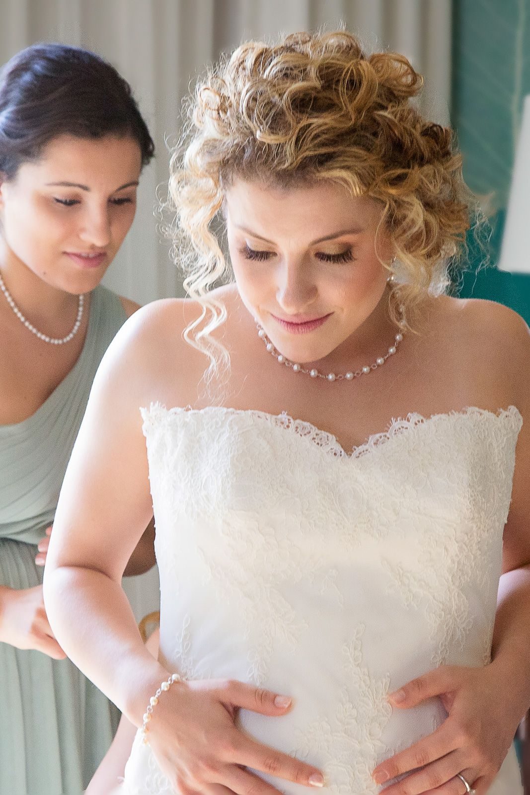 Beautiful pearl necklace wedding jewelry sets and backless wedding