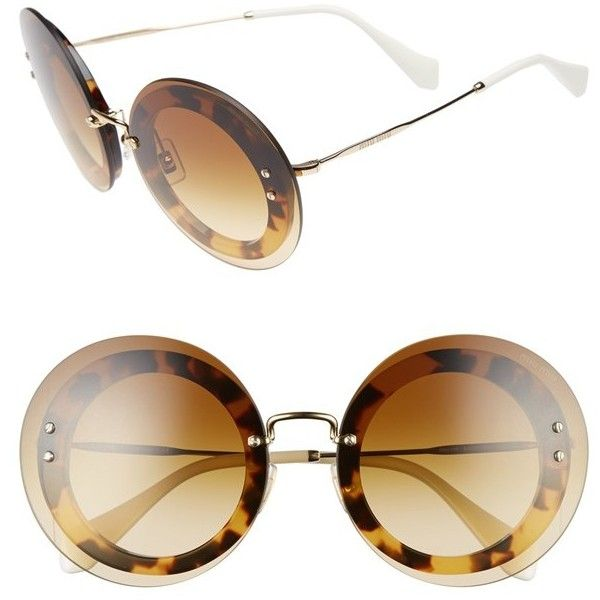 87ba667ebb Women s Miu Miu 64Mm Round Sunglasses featuring polyvore women s fashion  accessories eyewear sunglasses light havana round frame sunglasses round  frame ...