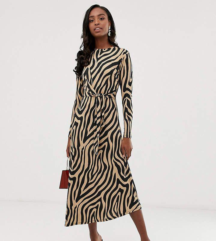 361a74d03 Asos Tall ASOS DESIGN Tall tie waist maxi dress in animal print #ad #dress  #asos #animalprint