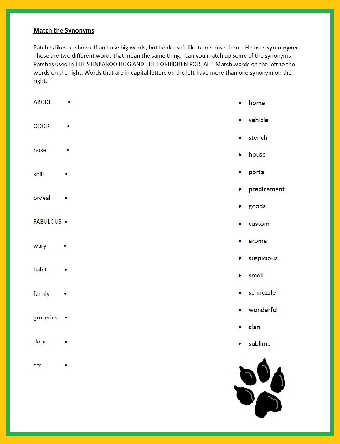 Match The Synonym Printable Enhance Vocabulary Retention