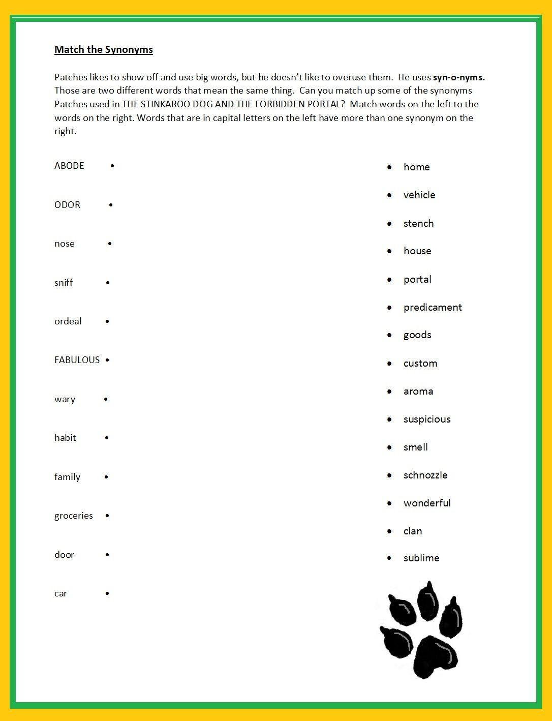 Match The Synonym Printable Enhance Vocabulary Retention