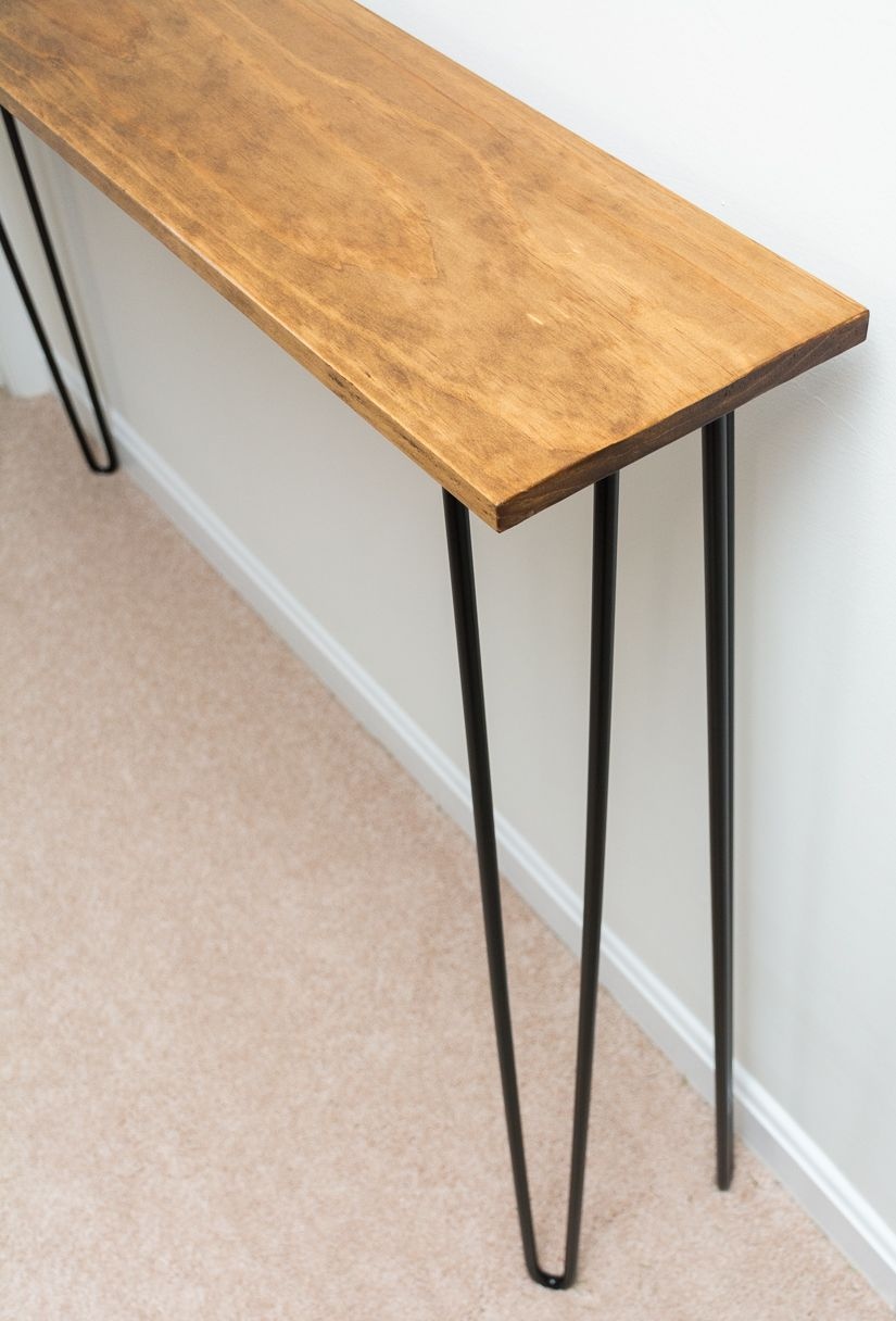 Table étroite Leftover Pine Diy Hairpin Leg Console Table Ideoita Pinterest