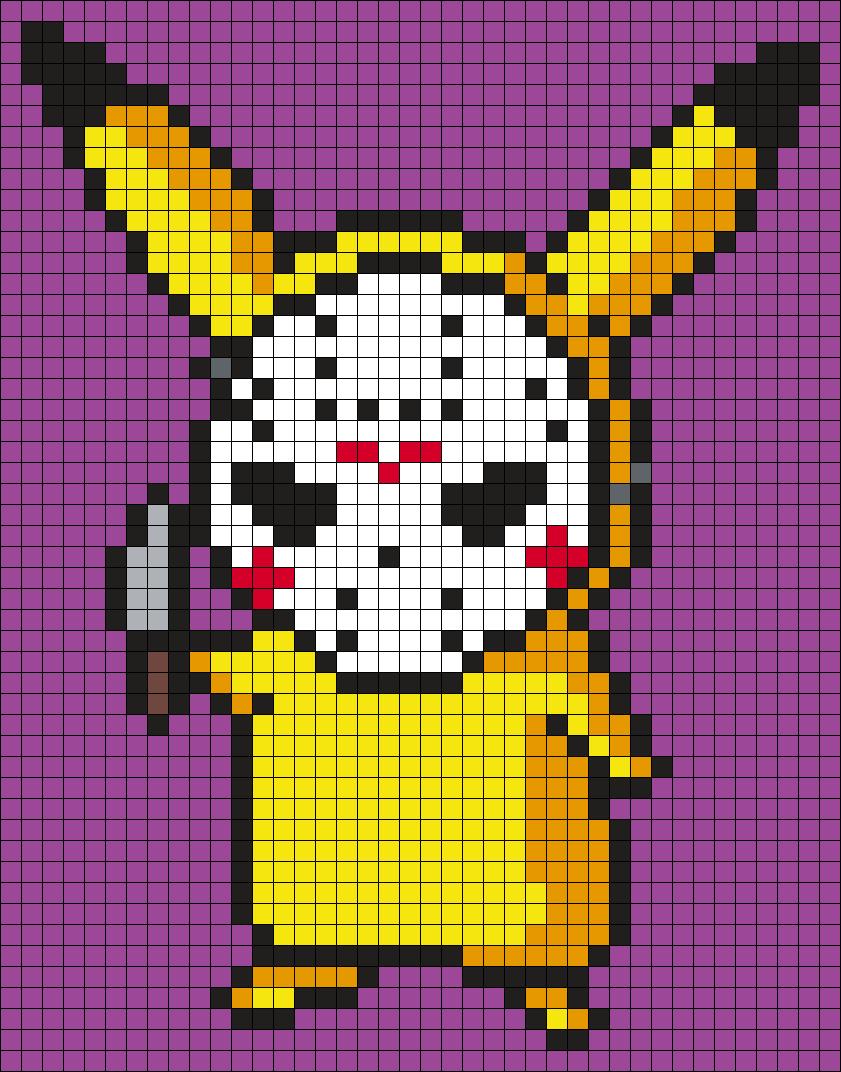 Pikachu In A Jason Voorhees Mask Perler Bead Pattern / Bead